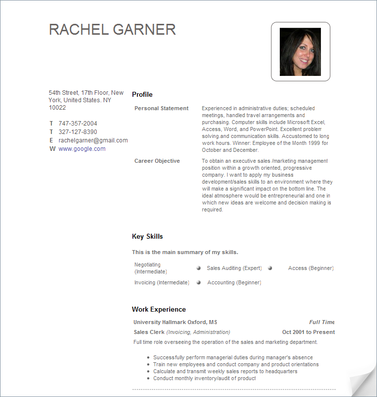 free sample resume - Sample Of Resume Format