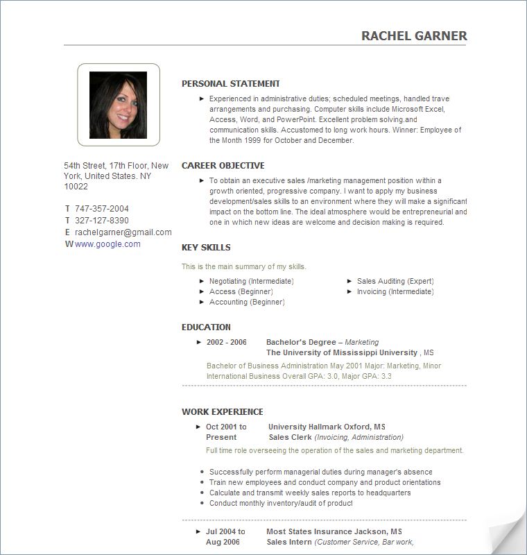 free sample resume - Photo Resume Template