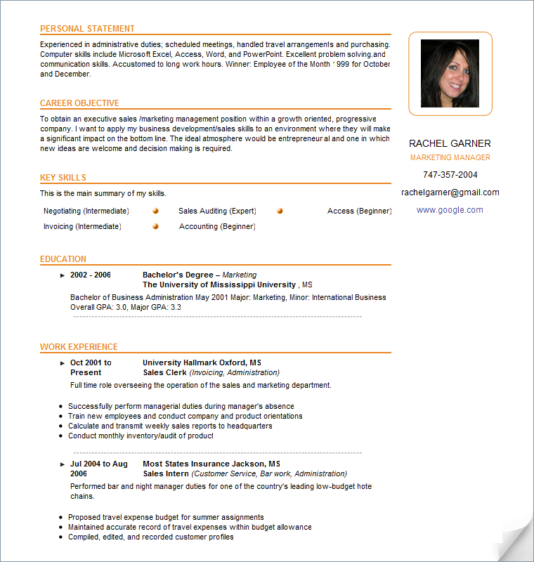 free sample resume - Free Sample Of Resume Format