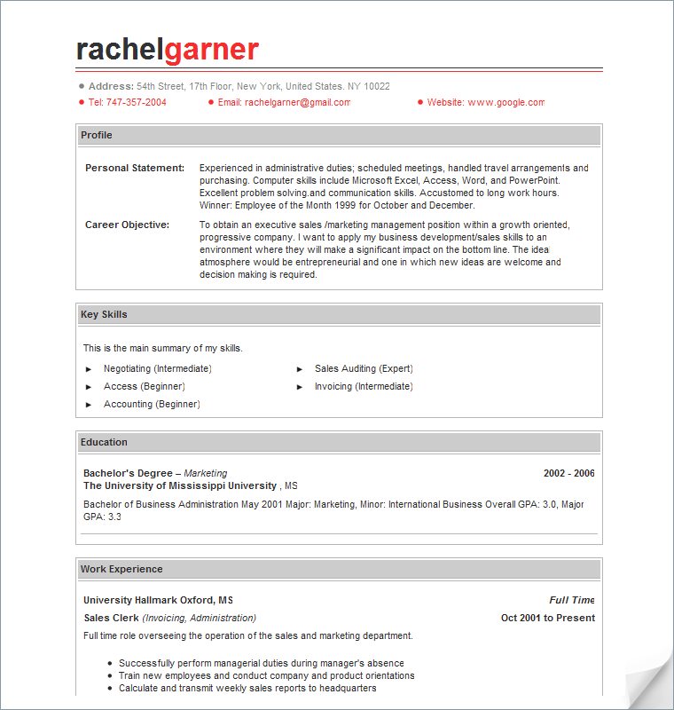 sample free resumes sales associate resume example free sample resume - Professional Sample Resume